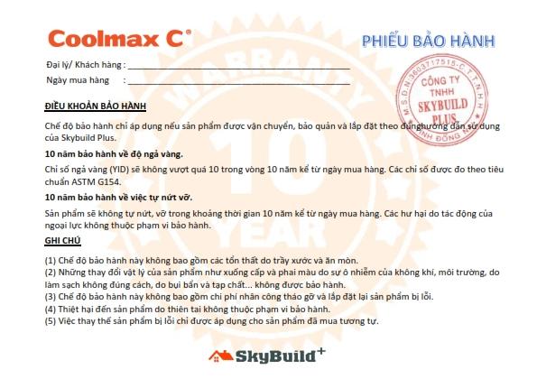 10 Years Warranty Letter   Coolmax C 001