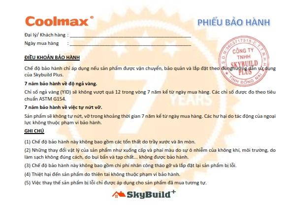 7 Years Warranty Letter   Coolmax 001