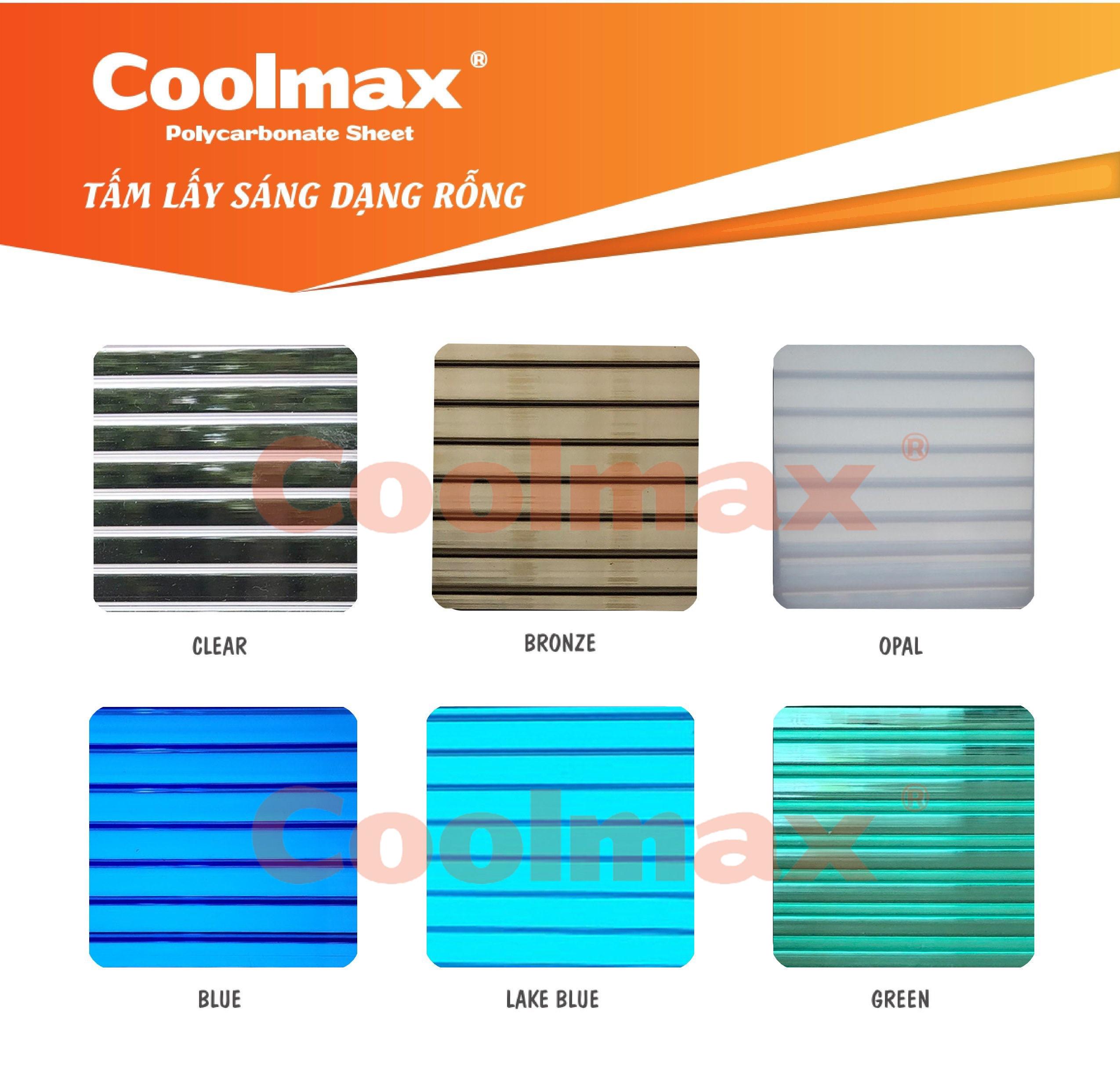 Bảng màu tấm poly rỗng – Tấm nhựa lấy sáng Coolmax
