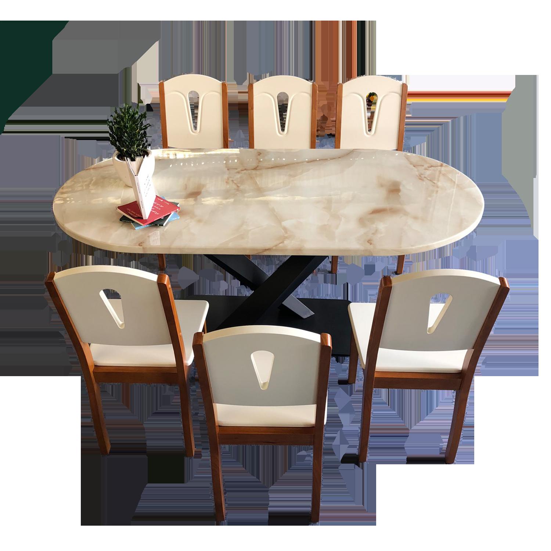 Bộ bàn đá Oval chân X 1m6, 6 ghế Neva