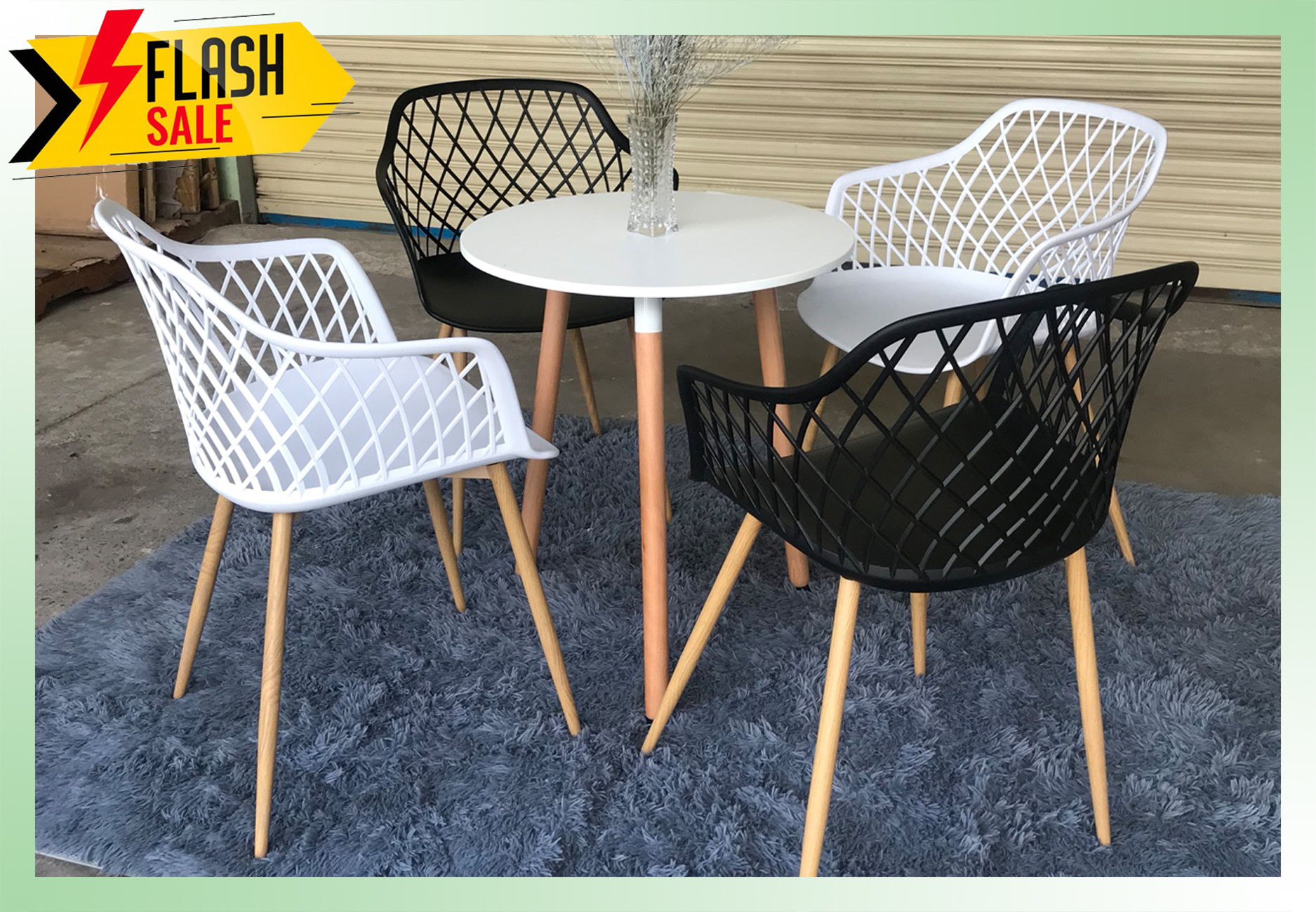 Bộ bàn tròn cafe và 4 ghế caro