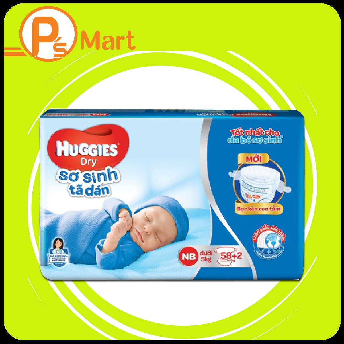 Tã dán sơ sinh Huggies (Newborn, dưới 5kg, 58 + 2 miếng)