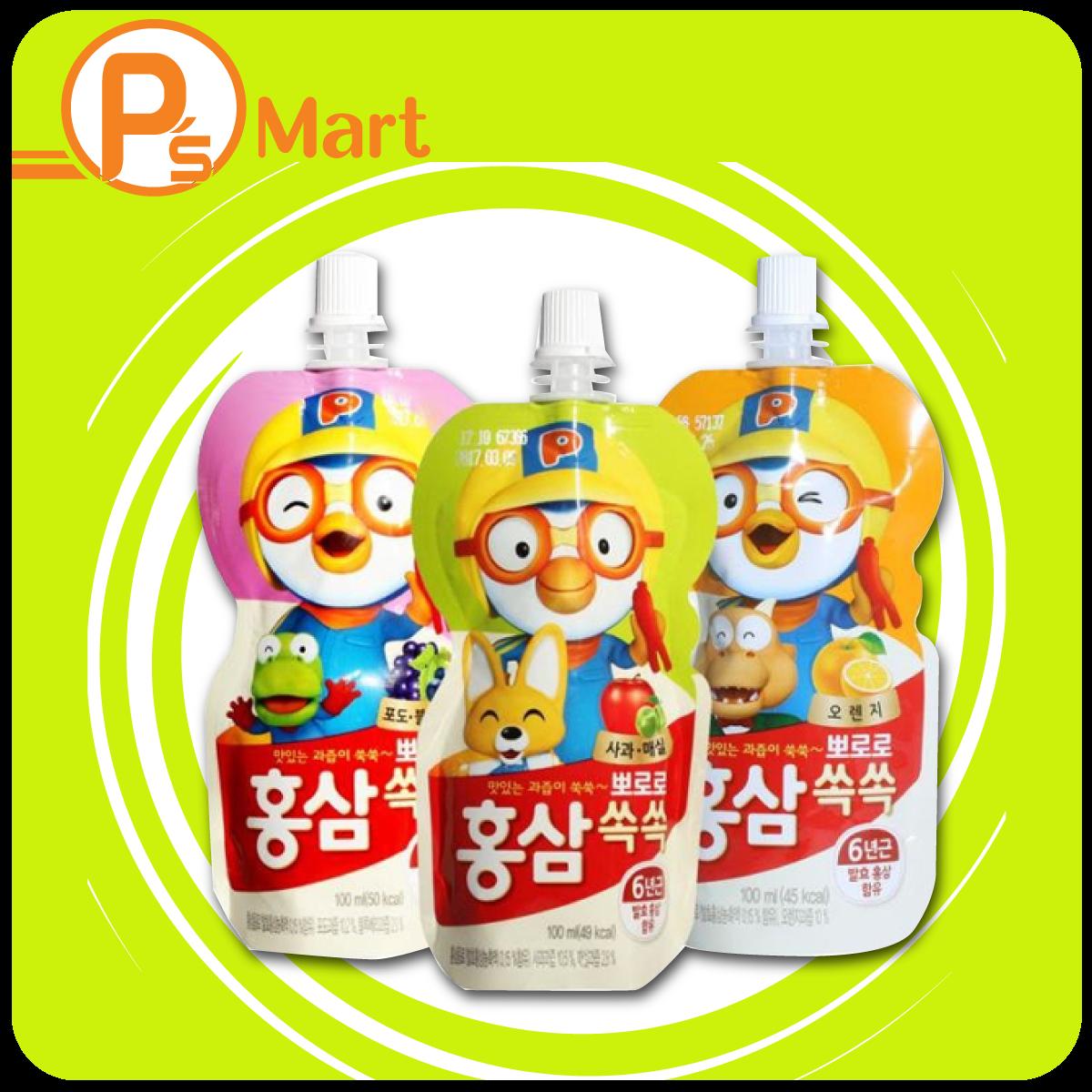 Túi nước hồng sâm trái cây Paldo Pororo Hàn quốc 100ml