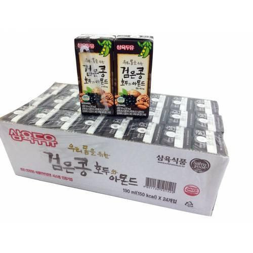 Thùng 24 hộp sữa đậu đen óc chó hạnh nhân Sahmyook 190ml