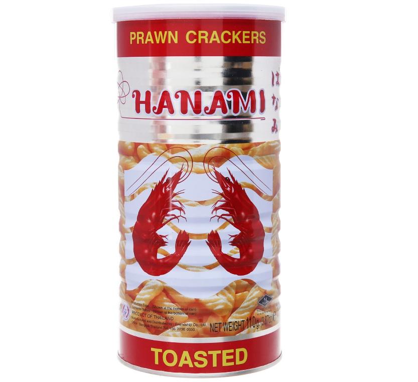 Snack Tôm Hanami Lon 110g (Đỏ – Vị tôm truyền thống)
