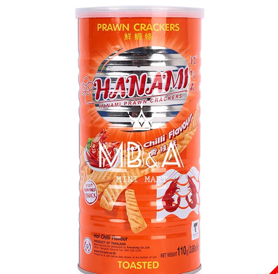 Snack Tôm Hanami Lon 110g  (Cam – Vị tôm ớt)