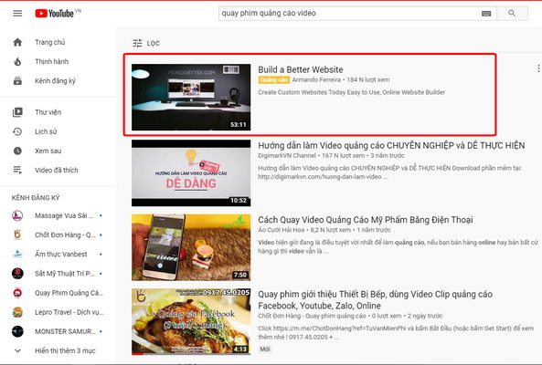 quang cao youtube True View In Display on search page